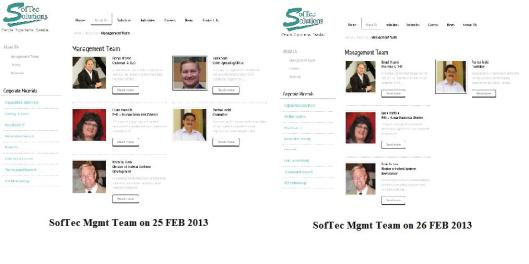 SofTec Management Team webpages - Monday versus Tuesday