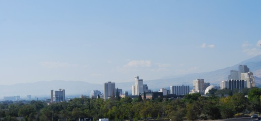 Morning smoke haze over Reno, Nevada caused by California King fire